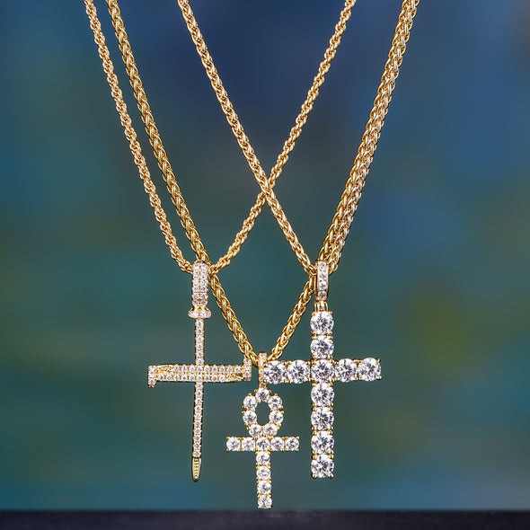 14K Gold Iced Out Cross Set