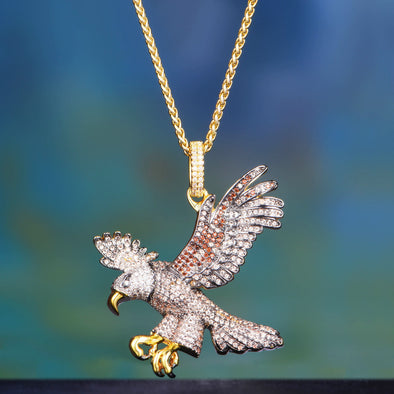 [Only 17pcs Left] 14K Gold Iced Out Flying Eagle