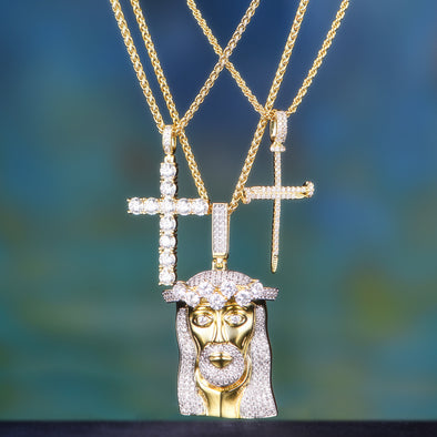 14K Gold King Mustache And Hair Iced Out Jesus + Cross Set