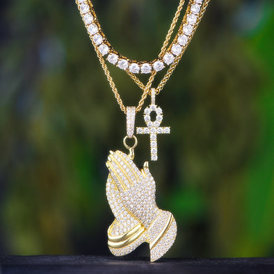 14K Gold Tennis Chain+ Ankh Cross+ Praying Hand Set