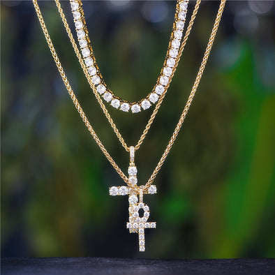 14K Gold Tennis Chain+ Ankh+Tennis Cross Set