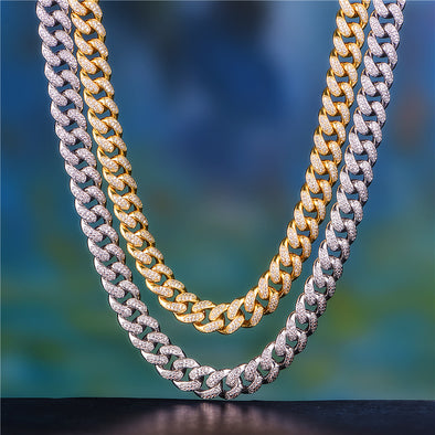 "18"" And 20"" 12mm Iced Out Cuban Chain Set"