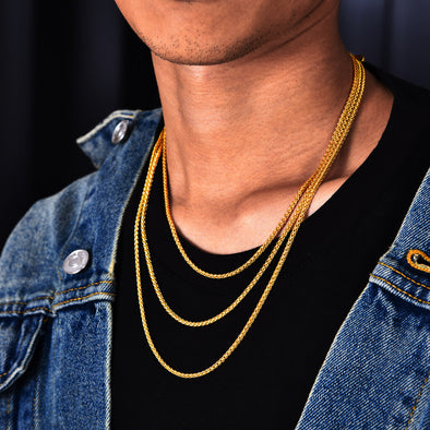 "18""+20""+22"" 2.5mm 14K Gold Franco Chain Set"