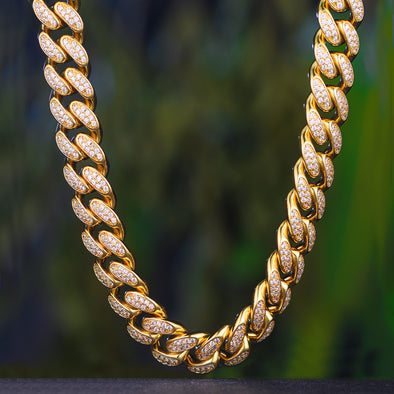 19mm 14K Gold Iced Out Cuban Chain