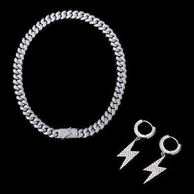 Lightning Bolt Earrings And 12mm Cuabn Link Chain Set