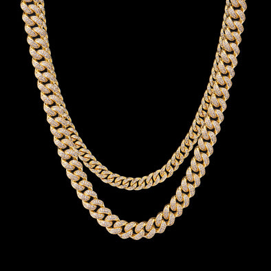 14K Gold 8mm & 12mm Cuban Chain Set