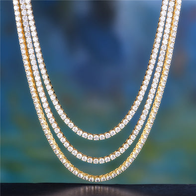 "20"" +24"" + 26"" 5mm 14K Gold Single Row Tennis Chain Set"