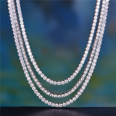 "20"" +24"" + 26"" 5mm White Gold Single Row Tennis Chain Set"
