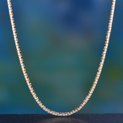 "24"" 3mm 14K Gold Single Row Tennis Chain [Ships After Aug. 25th]"