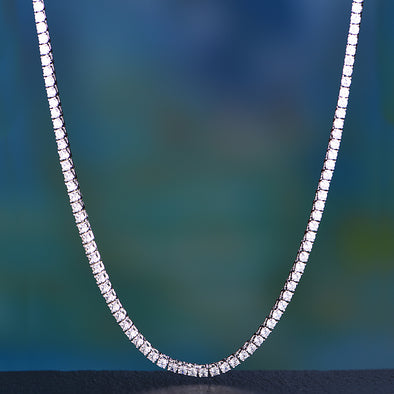 "24"" 3mm White Gold Single Row Tennis Chain"