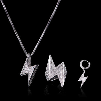 Lightning Bolt Earrings and Pendant and Ring Set