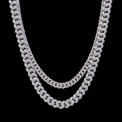 White Gold 8mm & 12mm Cuban Chain Set