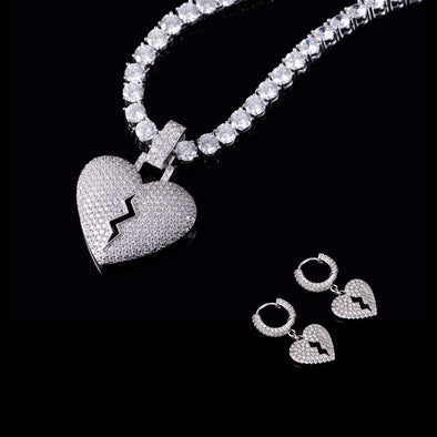 Broken Heart Earrings and Pendant and 5mm White Gold Tennis Chain Set
