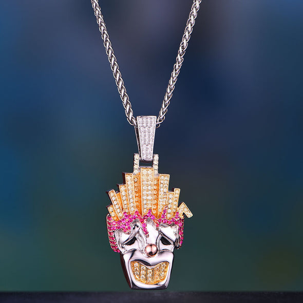 White Gold Iced Out Funny Fries Clown Pendant