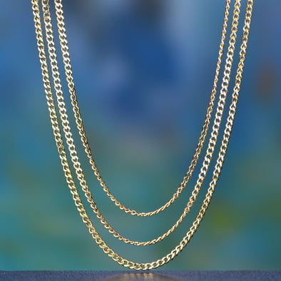 3.6mm 14K Gold Miami Cuban Curb Chain Set