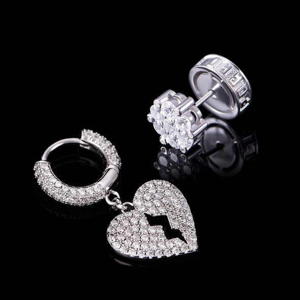 Asymmetric Iced Broken Heart And Round Stud E arrings