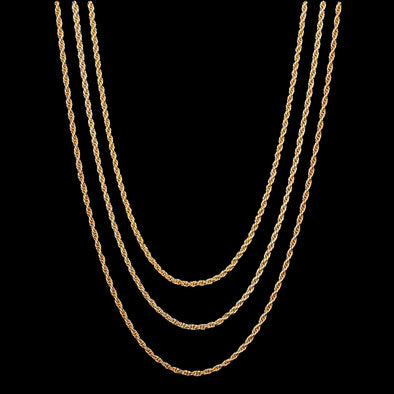 "20""+ 22""+ 24"" 2.5mm 14K Gold Rope Chain Set"
