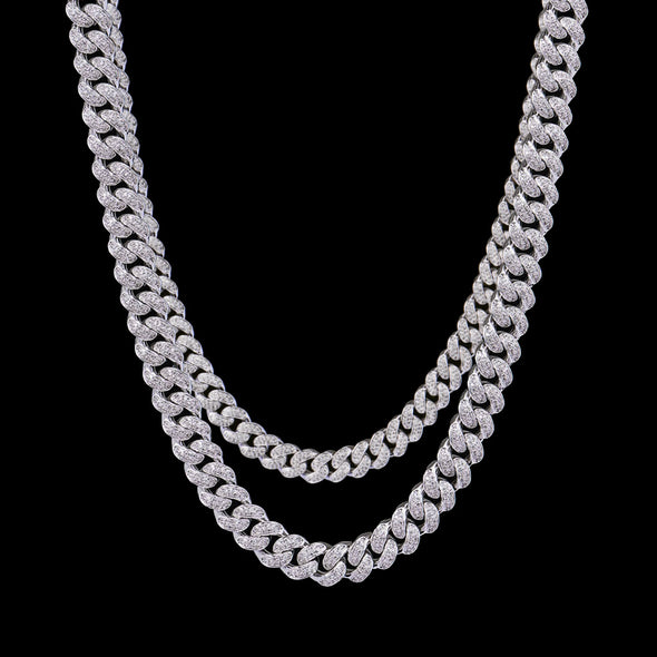 White Gold 10mm & 12mm Cuban Chain Set