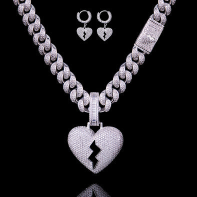 Broken Heart Earrings and Pendant w/ 12mm Cuban Chain Set