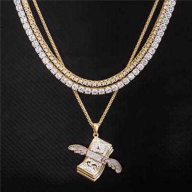 14K Gold Double Tennis Chains and Pendant Set [with Franco]