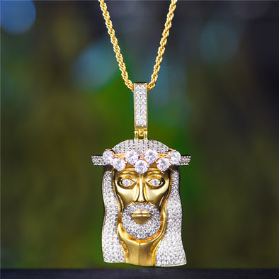14K Gold King Mustache And Hair Iced Out Jesus