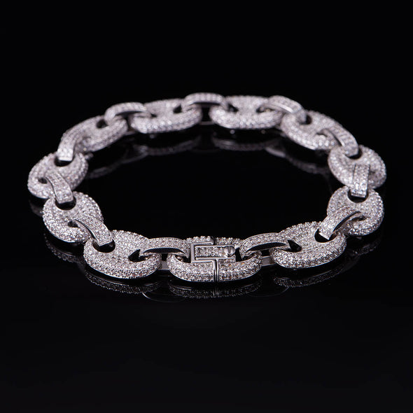 White Gold Fully Iced G Link Bracelet