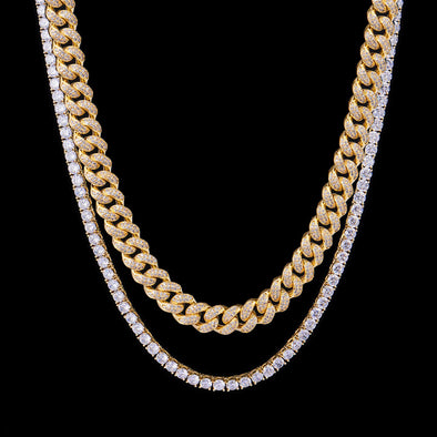 14K Gold 12mm Iced Cuban Chain and Tennis Chain Set