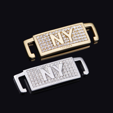 "Iced New York ""NY"" Lace Lock In Sterling Silver"
