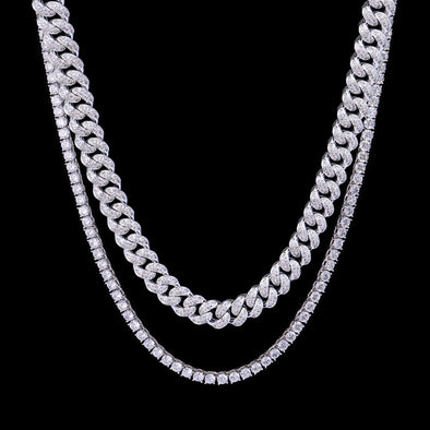 White Gold 12mm Iced Cuban Chain and 5mm Tennis Chain Set