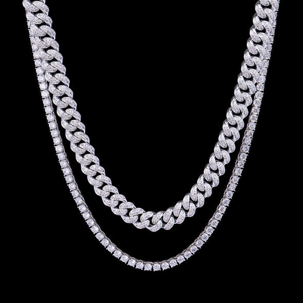 White Gold 12mm Iced Cuban Chain and Tennis Chain Set