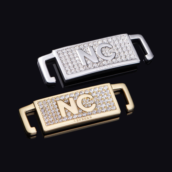 "Iced North Carolina ""NC"" Lace Lock In Sterling Silver"