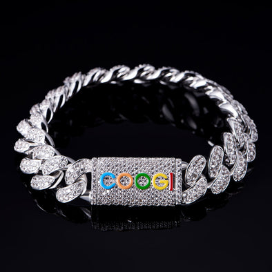 "APORRO X COOGI 12mm White Gold ""BASIC"" Cuban Bracelet"