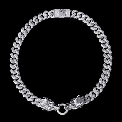 WONG-White Gold Iced Double Dragon Chain