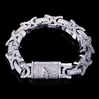 12mm White Gold Iced Box Clasp Byzantine Bracelet