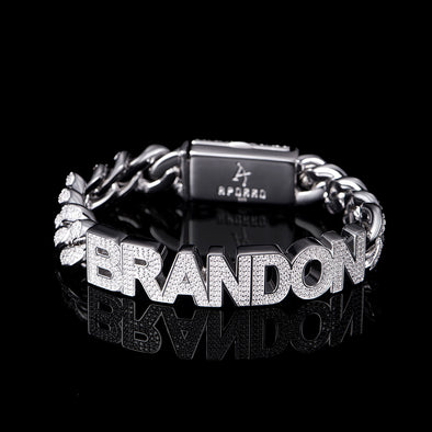 12mm White Gold Iced Name Custom Cuban Bracelet
