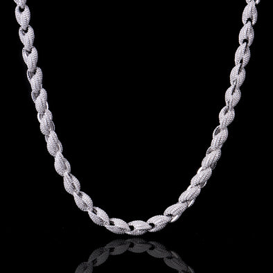 S925 Sterling Silver 10mm Iced White Gold Rope Chain