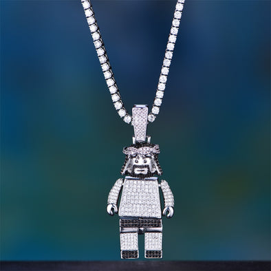 Limited Edition - White Gold Iced Jesus Block Pendant