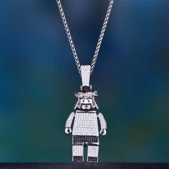 [Only 3 Pieces Left] - White Gold Iced Jesus Block Pendant