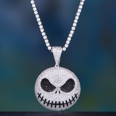 White Gold Iced Jack Skellington Pendant And Cuban or Tennis Chain Set