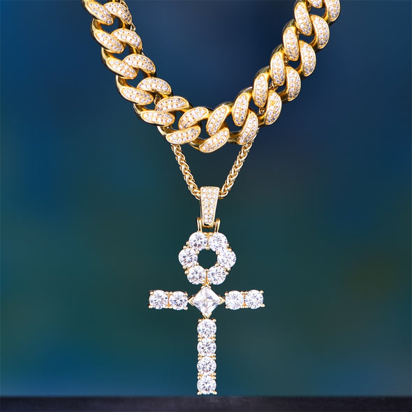 14K Gold Iced Big Ankh and Tennis or Cuban Chain Set