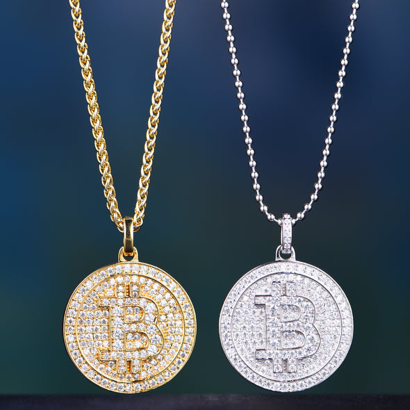 Sterling Silver Bitcoin + 14K Gold Bitcoin Set