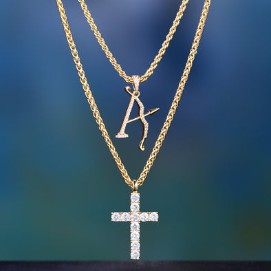 14K Gold Small Iced Out Tennis Cross+Aporro Brand Set