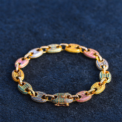 10mm 14K Gold Iced Out Gucci Link Bracelet