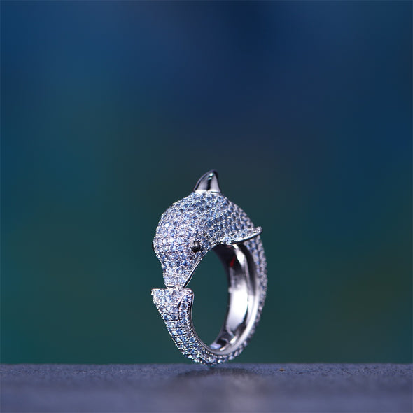 White Gold Iced Dolphin Ring