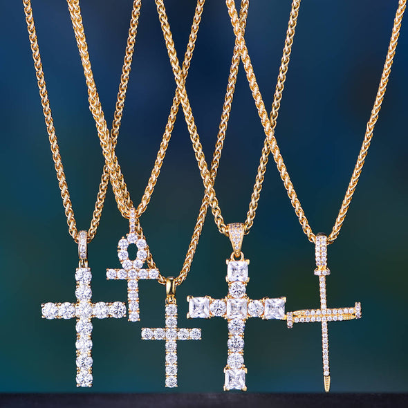 14K Gold Iced Cross 2-piece Set