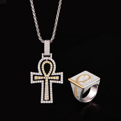 Ankh Pendant and Ring Set in 925 Sterling Silver