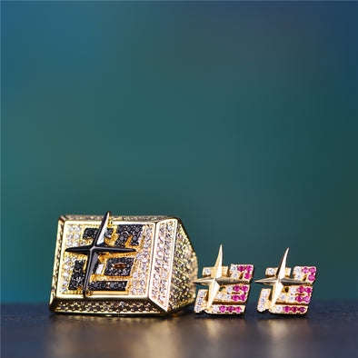 [New Arrival] 14K Gold Iced Out Super Ring+Sterling Earrings Set