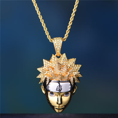 [21 Left Now!] 14K Gold Iced Out Naruto Pendant