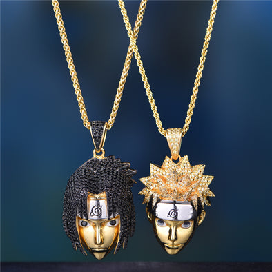 14K Gold Iced Naruto And Sasuke Set