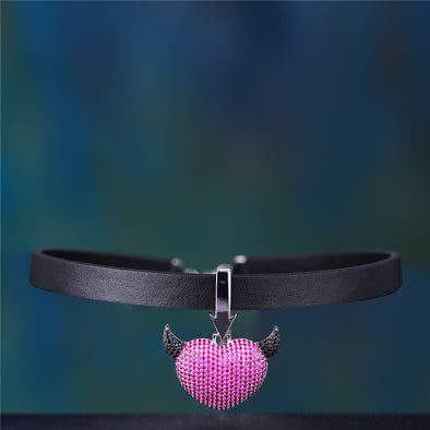 Iced Devil's Heart Pendant With Black Leather Choker Chain